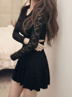 Black Round Neck Long Sleeve Lace Dress Source by dmergentaller dresses long Mode Outfits, Dress Outfits, Fashion Dresses, Stylish Outfits, Long Sleeve Homecoming Dresses, Short Dresses, Prom, Dresses Dresses, Fall Dresses