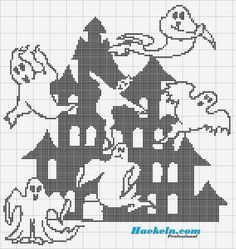 Geister Haus Halloween Filethäkeln  Anleitung kostenlos. #häkeln #crochet #filethäkeln #anleitung #vorlage #filetcrochet #patterns #geister #halloween #ghosts #haus #house