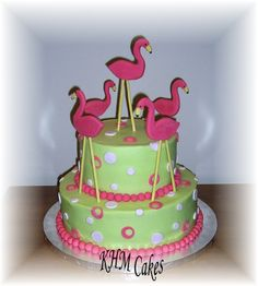 Flamingo birthday cake - 2 tiered marble cake with chocolate buttercream filling, iced in buttercream with fondant accents, gumpaste flamingos.done for a birthday party with a flamingo theme. Pink Flamingo Party, Flamingo Cake, Flamingo Birthday, Pink Flamingos, Buttercream Filling, Chocolate Buttercream, 27th Birthday Cake, Cake Board, Pretty Cakes