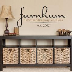 Family Name Decal Personalized Vinyl With Last Name First Names & Established Date for Foyer Entry Way Living Room Wall 15H x 36W FN009 via Etsy