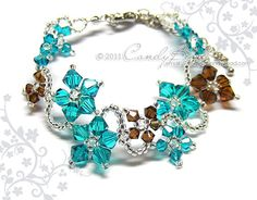 Swarovski Crystal Bracelet, Flora bracelet teal and brown with silver clasp and adjustable chain by CandyBead