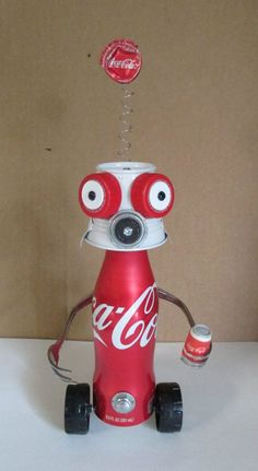 COCA~COLA KID- Found object robot sculpture~assemblage - Gift for Boyfriend Recycled Art Projects, Recycled Crafts, Projects For Kids, Diy For Kids, Crafts For Kids, Recycled Materials, Diy Crafts, Aluminum Can Crafts, Aluminum Cans