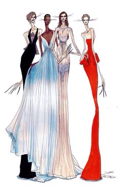 Sketches of Oscars. 2014 dresses
