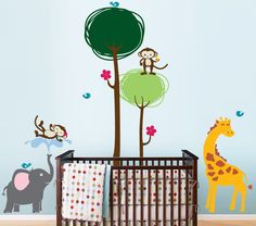 Safari Jungle Friends Jungle Animal Vinyl Wall by InAnInstantArt