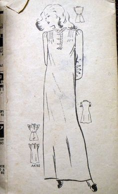 Vintage Sewing Pattern Anne Adams' 4782 Misses' Nightgown Bust 30 Inches Uncut Complete by GoofingOffSewing on Etsy White Nightgown, Vintage Nightgown, Ribbon Bows, Night Gown, 1940s, Sewing Patterns, Etsy Shop, Flat Rate, Cuffs