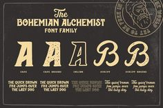 Ad: Bohemian Alchemist 5 Font + 15 Badge by Opus Nigrum on BOHEMIAN ALCHEMIST Font + Badges This font was inspired by the old pharmacy bottle labels. With some retro and dirty art deco, handmade. Beer Logo Design, Badge Design, Typography Fonts, Lettering, Indesign Magazine Templates, Pharmacy Design, Vintage Display, Font Setting, Bottle Labels