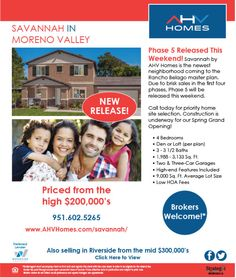 Phase 5 Now Selling, Moreno Valley New Homes from high $200's  Savannah in Moreno Valley  http://www.ahvhomes.com/savannah/