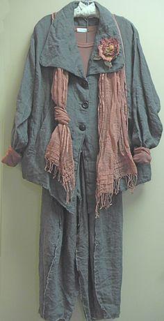 Krista Larson - I love the asymmetric knotting of the scarf!