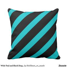 Wide Teal and Black Diagonal Stripes Pattern Throw Pillow