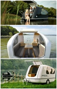 The Sealander is a German-engineered boat and RV hybrid combining the quality of a yacht with the flexibility of a mobile home. Check it out.