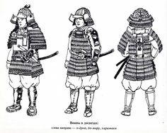 Types of medieval Japanese armor (left to right)  o-yoroi, domaru, haramaki.
