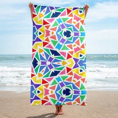 """Give your bathroom a vibrant look and wrap yourself up with this super soft and cozy all-over sublimation towel. • Available in size: 30""""x60"""" • 52% cotton / 48% polyester • Printed on one side • The non-printed side is made of terry fabric, making the tow"""