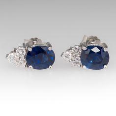 Blue sapphire and diamond 18k white gold earrings