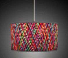 String Effect Orange Yellow Blue Retro Handmade Giclee Style Printed Fabric Lamp Drum Lampshade Floor Ceiling Pendant Light Shade 602 Ceiling Lamp Shades, Ceiling Pendant, Red Lamp Shade, Drum Shade, Basket Lighting, Deco Luminaire, Fabric Lampshade, Lampshade Ideas, Diy Chandelier
