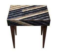 Chevron occasional table -  straw marquetry by Violeta Galan www.violetagalan.co.uk