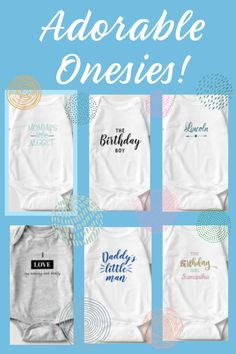 These are just a few of the MANY adorable onesies! They make great gifts and they are sure to be a hit! And visit the store for more baby gifts - blankets, pillows, signs, etc. #baby #babygifts #babyonesies #personalizedbabygifts #babygirlgifts #babyboygifts