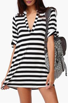 Goal Saver Stripe Dress in Black/White //