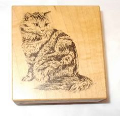 PSX Maine Coon Cat rubber stamp F 028 Wood Mounted Card Making Stamping Domestic animals cats Long haired tabby pets papercrafts by NoodlesNotions on Etsy