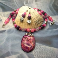 Pink Crazy lace Agate Necklace and earring by SugarHillGemsNJewels