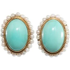 Preowned Persian Turquoise And Pearl Earrings ($6,000) ❤ liked on Polyvore featuring jewelry, earrings, multiple, pearl jewellery, pearl earrings jewellery, white pearl earrings, pearl jewelry and preowned jewelry