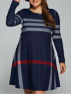 Only $10.65 for Plus Size Vertical Striped Comfy T-Shirt Dress in Purplish Blue | Sammydress.com