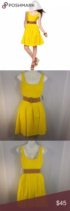 [Nine West]  Yellow A-Line Dress w/ Belt Product Details 77% Cotton, 23% Nylon Dry Clean Only Fit and flare Belt Scoop neck fit and flare sun dress with belt great for day occasion  Women's Size 2P Nine West Dresses Strapless