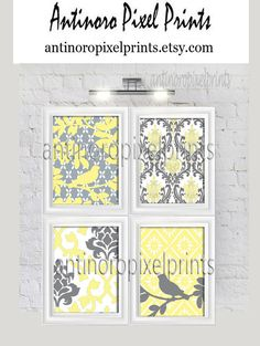 Items similar to Bird Teal Grey White Damask Vintage Modern Wall Art Print - Set of Custom Colors Sizes Available Unframed on Etsy Modern Prints, Modern Wall Art, Damask Nursery, Gray And White Bathroom, Yellow Art, Grey Flowers, White Damask, Teal And Grey, Diy Frame