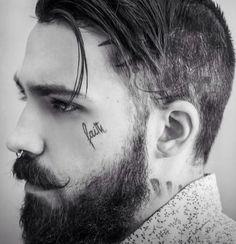smaller nice-looking dark beard and styled mustache undercut beards bearded man men mens' style face tattoo tattoos tattooed undercut Face Tattoos For Men, Tattoos For Guys, Tattoo On Face, Eye Tattoos, Tattoo Women, Tattoo Ink, Under Eye Tattoo, Bart Tattoo, Men's Hairstyles