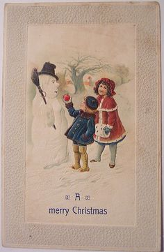 Vintage Christmas Postcard - Snowman