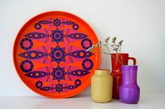 Gorgeous colourful vintage Tomado serving tray