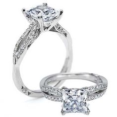 engagement ring (dreamy sigh)    Classic, elegant, and fit for a princess. Two almond-shaped crescents of round diamonds flank a princess-cut center stone on high-polished platinum, with diamonds accentuating delicate Crescent Silhouette details from all angles.