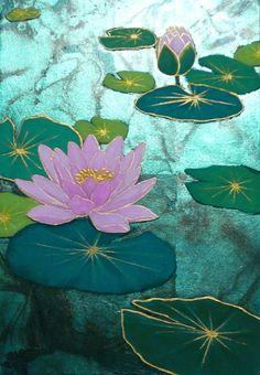 Lotus Painting, Lily Painting, Fabric Painting, Butterfly Watercolor, Watercolor Art, Batik Art, Indian Art Paintings, Illustration Art, Illustrations
