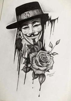Fuck tatoo: beautiful beautiful tattoo for both man and woman Tattoo Sketches, Tattoo Drawings, Drawing Sketches, Sketch Art, V For Vendetta Tattoo, Body Art Tattoos, Sleeve Tattoos, Graffiti Tattoo, Hand Tattoo