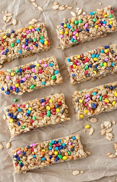 Homemade Chewy Rainbow Chip Granola Bars