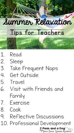 It does not matter what or where you teach, teachers need their summers to relax and recharge their bodies in order to get ready for the next school year. Teaching is a demanding profession that requires 110% of its teachers during the school year. Here are 10 fantastic ideas to help teachers relax and recharge themselves over the summer. Middle School Book List, Middle School English, Teaching Resources, Teaching Ideas, Teaching Strategies, Teaching Rules, Classroom Resources, Classroom Ideas, Ontario Curriculum