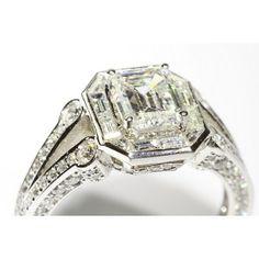 36145468 Antique Split-Shank Engagement Ring With Baguette Custom Halo