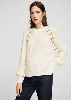 Pull-over détails ajourés Wool Sweaters, Black Sweaters, Blouses For Women, Sweaters For Women, I Fall To Pieces, Mango France, Blouse Styles, Lace Detail, Casual Wear