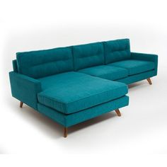 Good grief! That's some sofa - Taylor Sectional in Lucky Turquoise #mcm #sofa