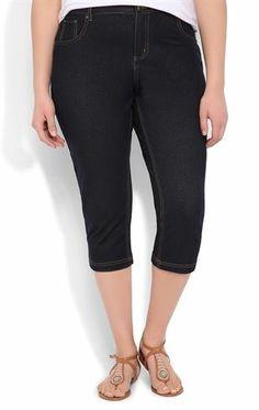 2d4e934d7d5c0 Plus Size Knit Jegging Capri with Mock Front Pockets