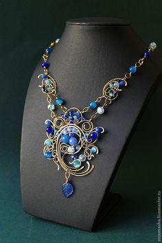 Купить Колье Jamilya - синий, голубой, колье, комплект, подарок, витое, фэнтезийное, ар-нуво