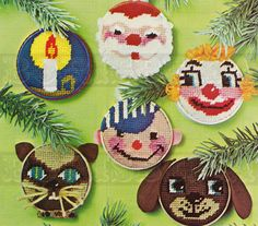 vintage CHRISTMAS DECORATIONS needlepoint pattern (70s)