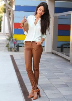 Must Have Outfits — Love that caramel leather.