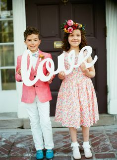 Ensure your flower girl and page boy are ridiculously cute with these 11 awesome ideas! Wedding Signs, Our Wedding, Dream Wedding, Party Wedding, Wedding Blog, Wedding Ceremony, Wedding Photos, Girls Dresses, Flower Girl Dresses