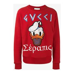 Gucci Donald Duck Applique Sweatshirt ($855) ❤ liked on Polyvore featuring  men's fashion,