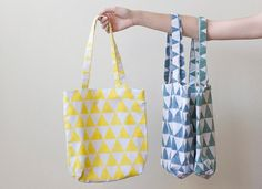 DIY School lunch bag: DIY  print your own fabric with a potato