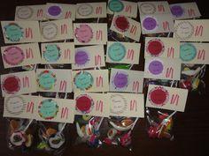 Sachets de bonbons pour l'anniversaire de mes filles à l'école