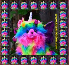 "Rainbow Unicorn Kitten was designed to create ""Smiles"" Kitchi-Kitten is an awesome bundle of absolute cuteness Cute Rainbow Unicorn, Rainbow Butterfly, Butterfly Wings, Twin Love, Unicorn Pictures, Kitten Toys, Unicorn Cat, Rainbow Aesthetic, Chalk Art"