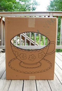 Cardboard Tea Cup Photo Booth.  Paint the teacup in bright colors and paint the…