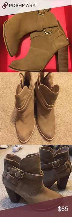 Brown Booties Super Cute booties, worn twice only and in great condition!! They are still in the box and the only sign of wear they have is some pink stains left on them from the box as seen on the last two pictures. The stains could possibly be cleaned and removed. Chinese Laundry Shoes Ankle Boots & Booties