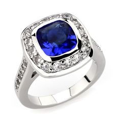 Princess Kylie Pave Square Center Cubic Zirconia Designer Ring Rhodium Plated Sterling Silver